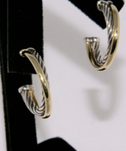 David Yurman Classic Cable Solid 18kt Gold and Silver Hoop Earrings  - $435.99