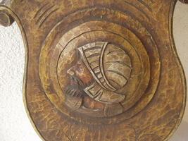 Antique 1900 German black forest carved wood shield medieval knight shop sign image 3