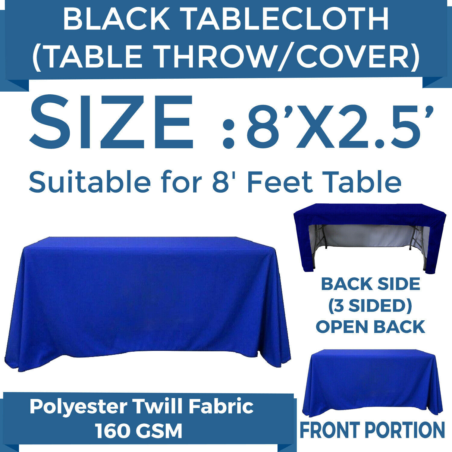 8ft. Full Color Blank Table Cover/Throws 3 Sided Tablecloth for Tradeshow, Blue