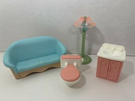 Fisher-Price Loving Family Dream doll house furniture lot couch lamp toi... - $12.86