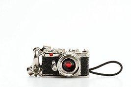 Miniature Camera Charm Range Finder Type Silver with Swarovski Made in J... - $30.42
