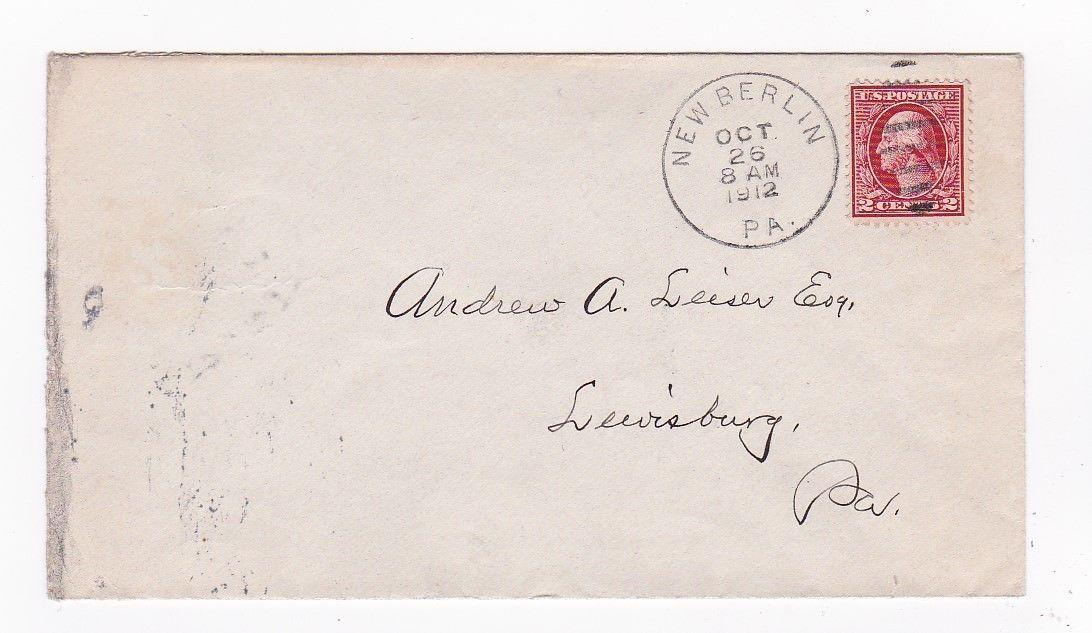 NEW BERLIN, PA OCTOBER 26 1912 ON 2C RED WASHINGTON