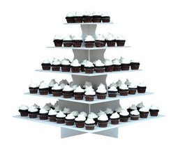 Large White Cupcake Display Stand Row 100 Ct Party Platter Tray 5 Tiers ... - $80.20
