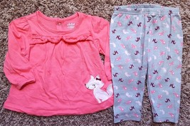 Girl's Size 12 M 9-12 Month Two Piece Carter's Pink Fox L/S Top & Leggings - $14.00