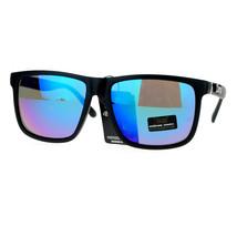 Mens Locs Sunglasses Matte Black Square Frame Mirror Lens UV400 - $9.95