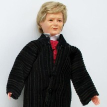 Dressed Victorian Man Doll 1364 Caco Red Cravat Flexible Dollhouse Minia... - $39.14