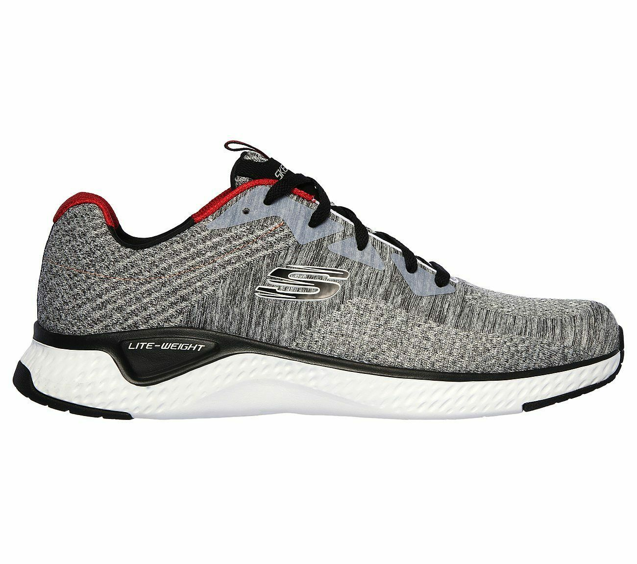 Skechers Gray shoes Men Memory Foam Walk Train Sport Comfort Casual Woven 52758 image 5