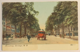 Old Divided Back Era Postcard Early Street View Broadway, Saratoga, NY Used - $14.65