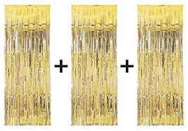 3 x Big/Large 3ft x 8ft Gold Fringe Foil Curtain party tassel (You will ... - $267,43 MXN