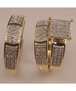 Round Cut White CZ His & Her Engagement Ring Trio Set 14k Gold Plated 92... - $165.90