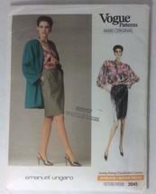 Vogue 2045 Emanuel Ungaro Pattern 1980s Jacket Blouse Skirt Pattern Size... - $14.54
