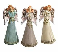 Burton and Burton Porcelain Holly Angel Figurines 8.75 Inch Tall Set of 3 - $53.79