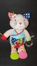 manhattan toy plush pink white baby bloom hanging crib toy rattle cat te... - $11.87