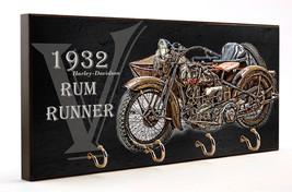 1932 Harley Davidson V Rum Runner Motorcycle Wooden Key Hanger - $27.67