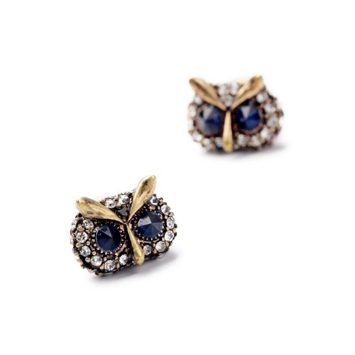 Imitated jewelry 2014 factory fashion retro lovely owl ladies ear studs peridot 2