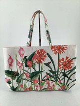 Tote Floral Butterflies Birds Cloth Canvas Pink Green White Red Vibrant - $18.69