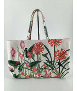 Tote Floral Butterflies Birds Cloth Canvas Pink Green White Red Vibrant - £13.53 GBP