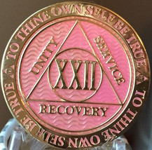 22 Year AA Medallion Pink Gold Plated Alcoholics Anonymous Sobriety Chip... - $17.99