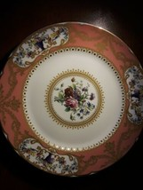 Andrea by Sadek plate Floral motif on white background with gold & coral... - £29.15 GBP
