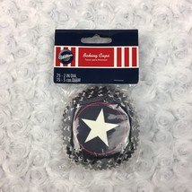 Wilton Patriotic 4th of July 75 Cupcake Liners Blue w Star Solid Red White - $8.59