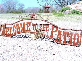 Metal Welcome to the PATIO Sign Wall Entry Gate 44 3/4 inch bz - $124.98