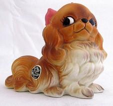 Vintage Josef Originals Pekingese Dog Figurine Bow Pet Porcelain Brown - $19.79