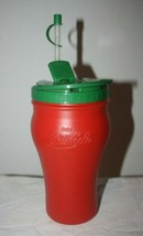 48 oz Coca Cola Red Plastic Drink Cup, Green Screw On Lid, Flexible Straw w/ Cap - $6.95