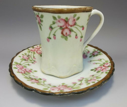 Tea Cup Saucer Set Bone China Pink Flowers Japan Asian Hand Painted - $9.90