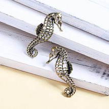 Antique Gold Color Alloy Seahorse Cute Animal 925 Silver Needle Statemen... - $7.49
