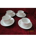 Fitz & Floyd Classic white fluted set of 4 cups and saucers excellent - $19.75