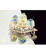 AJMC White Christmas Brooch Frosty Blue AB Rhinestones Silver Plate Dangles - $14.80