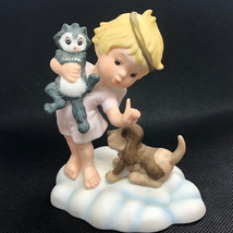 1987 Franklin Mint Almost Angels Figurine Blessed Are Peacemakers Dog Cat Statue - $34.65