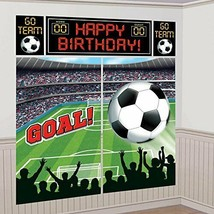 amscan Soccer Goal Birthday Party Soccer Scene Setters Wall Decorating Kit, - $36.83