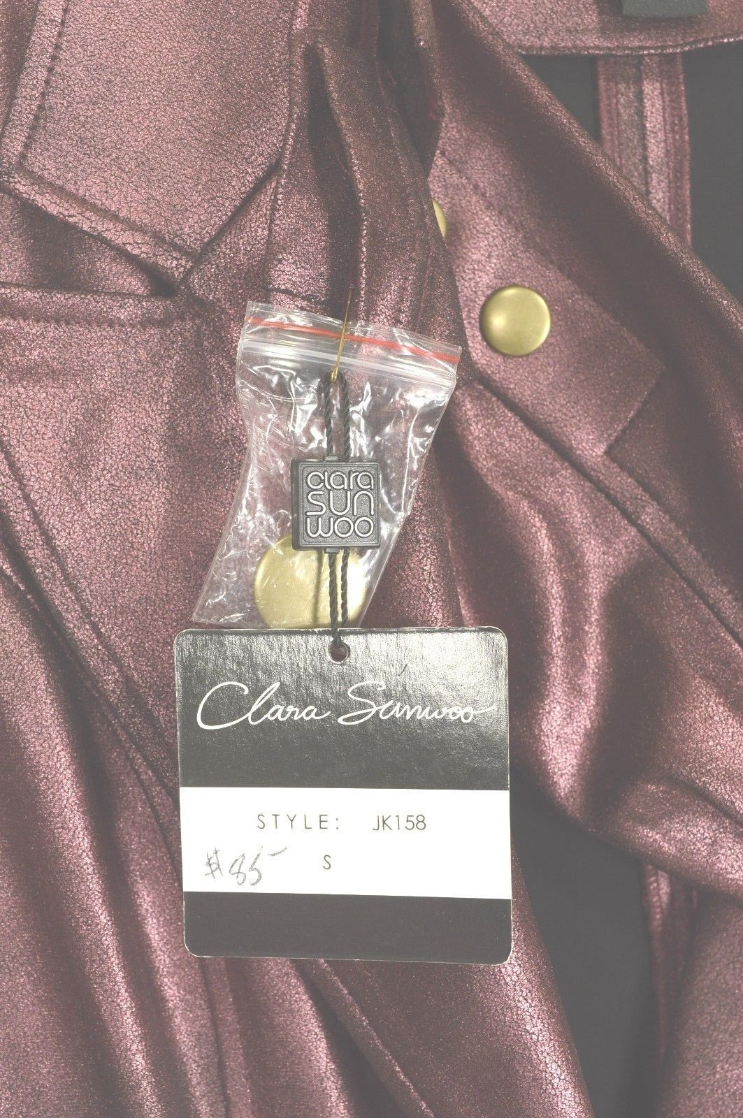 Clara Sun Woo jacket S Wine Signature Liquid Leather stretch knit crackle look