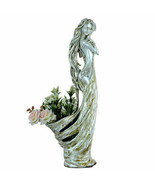 """35""""H Ivory Silver Lady Decorative Handcrafted Vase Urn Bowl - $251.23"""
