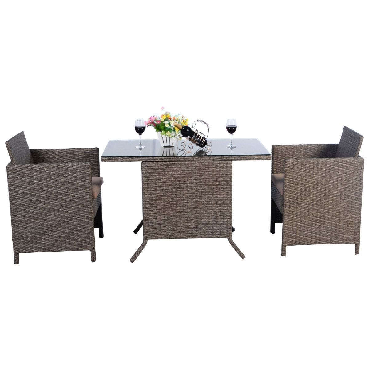 Garden Rattan Set 3pcs Table Chairs Cushioned Outdoor Patio Small Dining Set  image 2