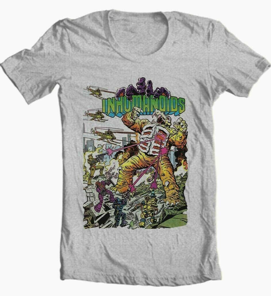 Inhumanoids t shirt retro saturday cartoon 80s comic toy style graphic tee grey