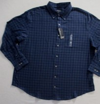 Van Heusen Men Shirt 2XL Navy Plaid Button Front Cotton Polyester 1863 - $17.82