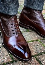 Handmade Men's High Ankle Lace Up Leather Boots image 1