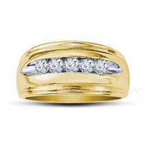14k Yellow Gold Finish 925 Sterling Silver Mens Wedding Engagement Diamo... - £73.28 GBP