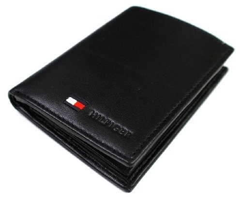 Tommy Hilfiger Men's Polished Lamb Credit Card Organizer,Black,One Size