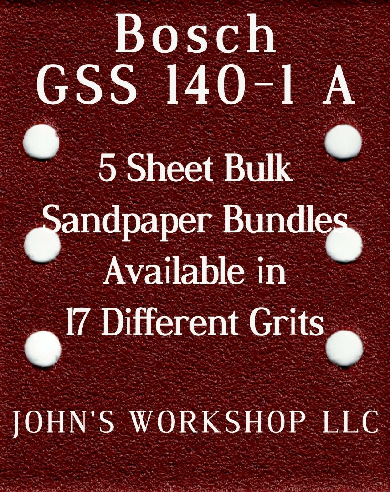 Primary image for Bosch GSS 140-1 A - 1/4 Sheet - 17 Grits - No-Slip - 5 Sandpaper Bulk Bundles