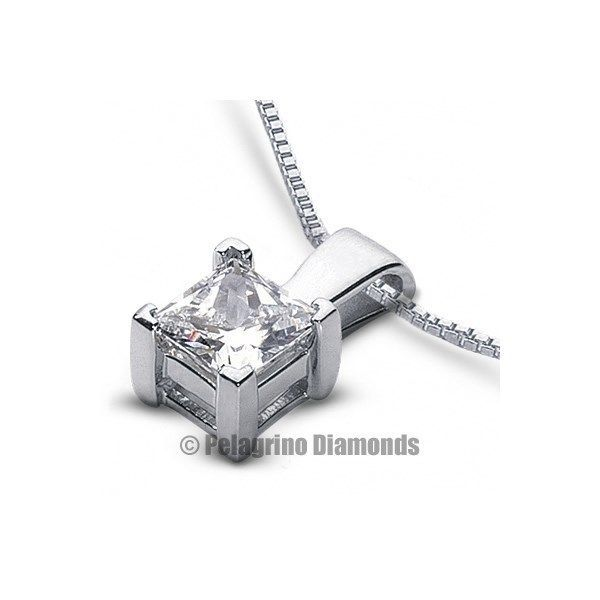 Primary image for 0.78 CT D-VS2 VG Princess Certified Diamond 18K Gold Prong Classic Pendant 6.3mm