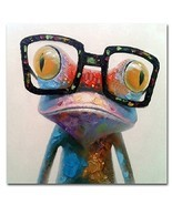 Muzagroo Art Oil Painting Modern Art Happy Frog Painted by Hand on Canva... - $63.24 CAD