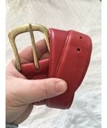 """BRIGHTON Red LEATHER BELT Gold BUCKLE Women's Size 30/36"""" - $19.75"""