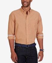 Nautica Men's Mini-Plaid Long Sleeve Dress Shirt Orange Sorbet Medium - $24.95