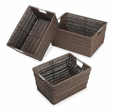 New Rattique Organizer Home Office Organization Bins Storage Baskets Closet - $37.37