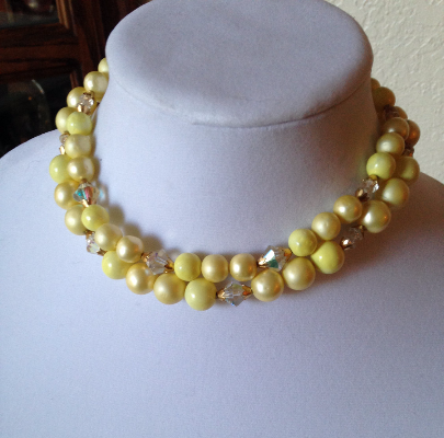 Vintage 1950's Pastel Yellow Crystal Bead Double Strand Fashion Choker Necklace  - $40.00