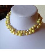Vintage 1950's Pastel Yellow Crystal Bead Double Strand Fashion Choker N... - $40.00