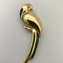Signed LC Liz Claiborne Parrot Pin Brooch Blue & Green Enamel Accent J0264 - $12.34